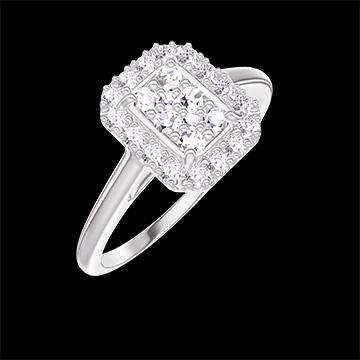 Bague Create 211499 Or blanc 18 carats - Cluster de diamants naturels Rectangle équivalent 0.5 - Halo Diamant