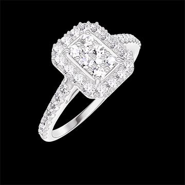 Bague Create 211503 Or blanc 18 carats - Cluster de diamants naturels Rectangle équivalent 0.5 - Halo Diamant - Sertissage Diamant