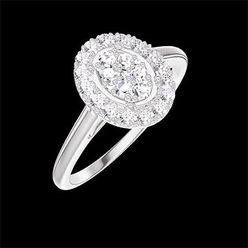 Bague Create 211547 Or blanc 18 carats - Cluster de diamants naturels Ovale équivalent 0.5 - Halo Diamant