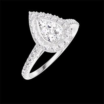 Bague Create 211599 Or blanc 18 carats - Cluster de diamants naturels Poire équivalent 0.5 - Halo Diamant - Sertissage Diamant