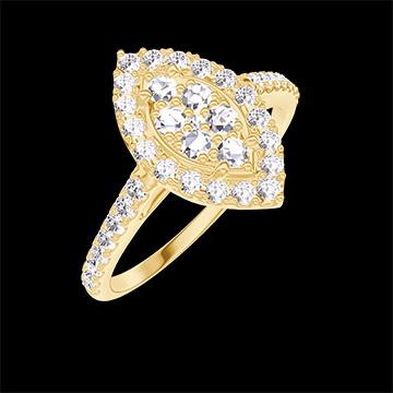 Bague Create 211645 Or jaune 18 carats - Cluster de diamants naturels Marquise équivalent 0.5 - Halo Diamant - Sertissage Diamant