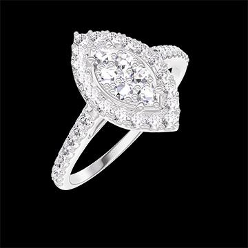 Bague Create 211647 Or blanc 18 carats - Cluster de diamants naturels Marquise équivalent 0.5 - Halo Diamant - Sertissage Diamant