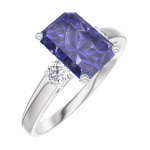 تصميم خاتم الخطوبة 168624 الذهب الابيض قيراطً 9 - الياقوت الأزرق مستطيل 1 قيراط - الأحجار الجانبية الألماس