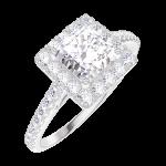 تصميم خاتم الخطوبة 170055 الذهب الابيض قيراطً 18 - الألماس پرنسيس 0.5 قيراط - هالة الألماس - محيط الألماس