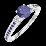 Anello Create 161236 Oro bianco 9 carati - Zaffiro blu rotondo 0.3 Carati - Pietre laterali Diamante - Incastonatura Zaffiro blu