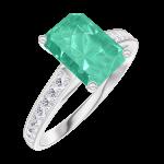 Anello Create 169208 Oro bianco 9 carati - Smeraldo Rettangolo 1 Carati - Incastonatura Diamante