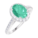 Anello Create 171016 Oro bianco 9 carati - Smeraldo Ovale 0.5 Carati - Halo Diamante - Incastonatura Diamante