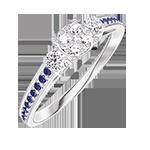 Anello Create 209635 Oro bianco 18 carati - Cluster di diamanti naturali rotondo equivalente 0.5 - Pietre laterali Diamante - Incastonatura Zaffiro blu