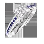 Anello Create 209715 Oro bianco 18 carati - Cluster di diamanti naturali Principessa equivalente 0.5 - Incastonatura Zaffiro blu