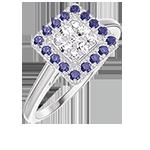Anello Create 211483 Oro bianco 18 carati - Cluster di diamanti naturali Principessa equivalente 0.5 - Halo Zaffiro blu