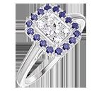 Anello Create 211531 Oro bianco 18 carati - Cluster di diamanti naturali Rettangolo equivalente 0.5 - Halo Zaffiro blu