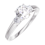 Anillo Create Engagement 162423 Oro blanco 18 quilates - Diamante natural Redonda 0.5 quilates - Piedras laterales Diamante natural