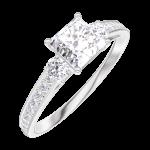 Anillo Create Engagement 162527 Oro blanco 18 quilates - Diamante natural Princesa 0.5 quilates - Piedras laterales Diamante natural - Engastado Diamante natural