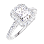 Anillo Create Engagement 170103 Oro blanco 18 quilates - Diamante natural Rectángulo 0.5 quilates - Halo Diamante natural - Engastado Diamante natural