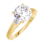 Anillo Create Engagement 187222 Oro amarillo 9 quilates - Diamante de laboratorio Redonda 1 quilates - Piedras laterales Diamante natural