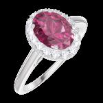 Bague Create 170436 Or blanc 9 carats - Rubis Ovale 0.5 carat - Halo Diamant