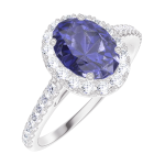Bague Create 170727 Or blanc 18 carats - Saphir bleu Ovale 0.5 carat - Halo Diamant - Sertissage Diamant