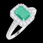 Bague Create 170967 Or blanc 18 carats - Émeraude Rectangle 0.5 carat - Halo Diamant - Sertissage Diamant