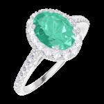 Bague Create 171016 Or blanc 9 carats - Émeraude Ovale 0.5 carat - Halo Diamant - Sertissage Diamant