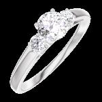 Bague Create 180024 Or blanc 9 carats - Diamant de laboratoire Rond 0.3 carat - Pierres de côté Diamant