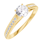Bague Create Engagement 160005 Or jaune 18 carats - Diamant naturel Rond 0.3 carat - Sertissage Diamant naturel