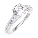 Bague Create Engagement 164807 Or blanc 18 carats - Diamant naturel Rond 0.7 carat - Sertissage Diamant naturel