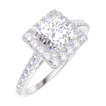 Bague Create Engagement 170055 Or blanc 18 carats - Diamant naturel Princesse 0.5 carat - Halo Diamant naturel - Sertissage Diamant naturel