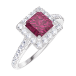 Bague Create Engagement 170344 Or blanc 9 carats - Rubis Princesse 0.5 carat - Halo Diamant naturel - Sertissage Diamant naturel
