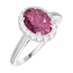 Bague Create Engagement 170436 Or blanc 9 carats - Rubis Ovale 0.5 carat - Halo Diamant naturel