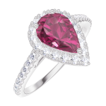 Bague Create Engagement 170488 Or blanc 9 carats - Rubis Poire 0.5 carat - Halo Diamant naturel - Sertissage Diamant naturel