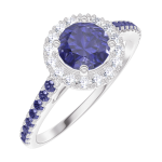 Bague Create Engagement 170592 Or blanc 9 carats - Saphir bleu Rond 0.5 carat - Halo Diamant naturel - Sertissage Saphir bleu