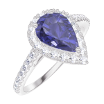 Bague Create Engagement 170776 Or blanc 9 carats - Saphir bleu Poire 0.5 carat - Halo Diamant naturel - Sertissage Diamant naturel
