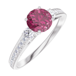 Creare Inel de Logodnă 163028 Aur alb 9 carate - Rubin Rotund 0.5 carate - Pietre laterale Diamant natural - Încrustare Diamant natural