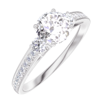 Create Engagement Ring 162427 White gold 18 carats - Natural Diamond Round 0.5 Carats - Ring settings Natural Diamond - Setting Natural Diamond