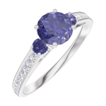 Create Engagement Ring 163668 White gold 9 carats - Blue Sapphire Round 0.5 Carats - Ring settings Blue Sapphire - Setting Natural Diamond