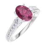Create Engagement Ring 165728 White gold 9 carats - Ruby Oval 0.7 Carats - Ring settings Natural Diamond - Setting Natural Diamond