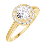 Create Engagement Ring 170001 Yellow gold 18 carats - Natural Diamond Round 0.5 Carats - Halo Natural Diamond