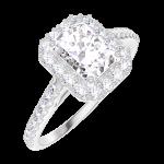 Create Engagement Ring 170103 Weißgold 750/-(18Kt) - Diamant Rechteckig 0.5 Karat - Halo Diamant - Fassung Diamant