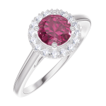 Create Engagement Ring 170292 White gold 9 carats - Ruby Round 0.5 Carats - Halo Natural Diamond