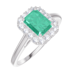 Create Engagement Ring 170964 White gold 9 carats - Emerald Baguette 0.5 Carats - Halo Natural Diamond