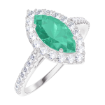 Create Engagement Ring 171112 White gold 9 carats - Emerald Marquise 0.5 Carats - Halo Natural Diamond - Setting Natural Diamond