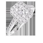 Inel Create 211503 Aur alb 18 carate - Cluster de diamante naturale Smarald echivalent 0.5 - Halo Diamant - Încrustare Diamant