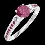 Ring Create 160632 Witgoud 9 karaat - Robijn rond 0.3 Karaat - Aanleunende edelstenen Diamant - Setting Robijn