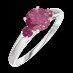 Ring Create 163044 Witgoud 9 karaat - Robijn rond 0.5 Karaat - Aanleunende edelstenen Robijn