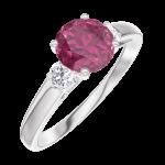 Ring Create 165424 Witgoud 9 karaat - Robijn rond 0.7 Karaat - Aanleunende edelstenen Diamant