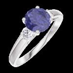 Ring Create 166024 Witgoud 9 karaat - Blauwe saffier rond 0.7 Karaat - Aanleunende edelstenen Diamant