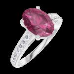 Ring Create 168107 Witgoud 18 karaat - Robijn Ovaal 1 Karaat - Setting Diamant