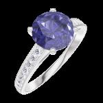 Ring Create 168407 Witgoud 18 karaat - Blauwe saffier rond 1 Karaat - Setting Diamant