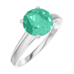 Ring Create 169004 White gold 9 carats - Emerald round 1 Carats
