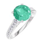 Ring Create 169027 Witgoud 18 karaat - Smaragd rond 1 Karaat - Aanleunende edelstenen Diamant - Setting Diamant